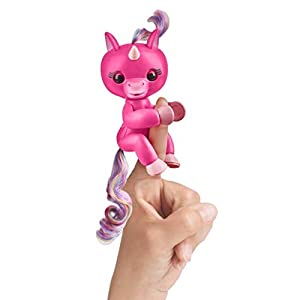 WowWee (WOWWM)   Fingerlings Baby Unicorn Skye (Hot Pink With Rainbow Mane And Tail) – Friendly Interactive Toy By Wow wee, Hot Pink