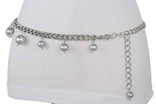 Tone Chain Silver Belt Link (TFJ Women Fashion Metal Chains Belt Hip High Waist Gold Long Buckle Plus Size M L Xl)