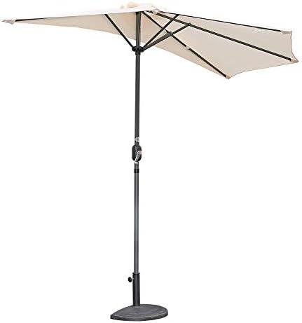 ZDW Tragbare Sonnenschirme 2,7 m (9 ft) Außenterrasse Halbkreisförmiger halber Regenschirm mit Kurbel, Sonnenschirm Halbrunder Rundschirm für kleinen Terrassenbalkongarten,SanColor