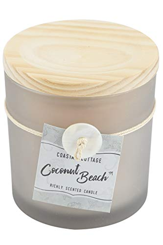 - Coastal Cottage Coconut Beach Scented Frosted Jar Candle, Light Taupe, 12 Ounces
