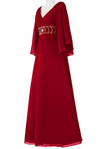 with Bridal Neck Chiffon Double Red Red Dresses Sleeves Ruched Formal Beading Amore Evening V Bust qd7AqC