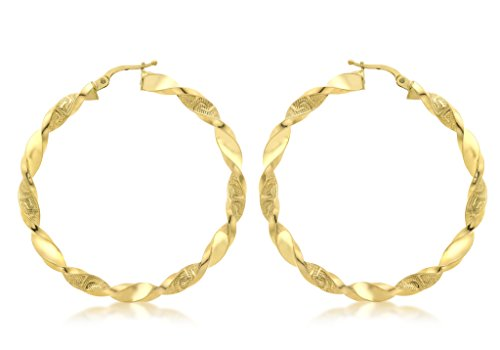 9ct or jaune 48mm grecque Twist Boucles d'oreilles créoles
