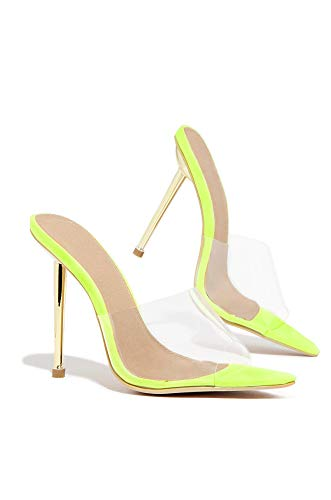 Lemonade KingKing Lime Transparent Clear Open Toe Gold Stiletto Mule Sandal (5.5, Lime) (5 Mule Inch)