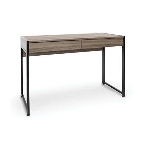 Essentials Office Desk with Drawers - Modern 2-Drawer Computer Desk and Workstation, Driftwood (ESS-1002-DWD)