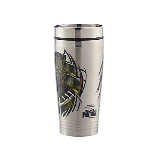 School Panthers Accessories - Marvel Travel Tumbler - 16 oz. Stainless Steel Portable Beverage Tumbler - Spill Proof & Insulated Double Walled Tumbler, Killmonger Black Panther