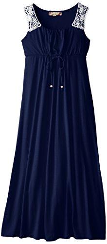 Speechless Big Girls' Maxi Dress with Crochet Shoulder Detail, Navy, 16