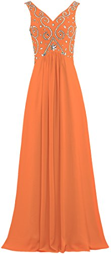 Dresses Long Bead Neck Evening V Prom ANTS Orange Gown Women's Chiffon CwqUfWxY