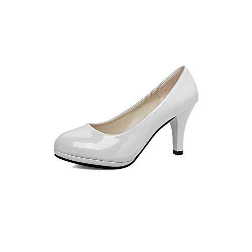 Xie Ronde Bouche 34 Femmes Tête Hauts Grandes Chaussures Nouvelles Peu Profonde Talons Épaisses De Des Les White Taille Avec À 10qrW1