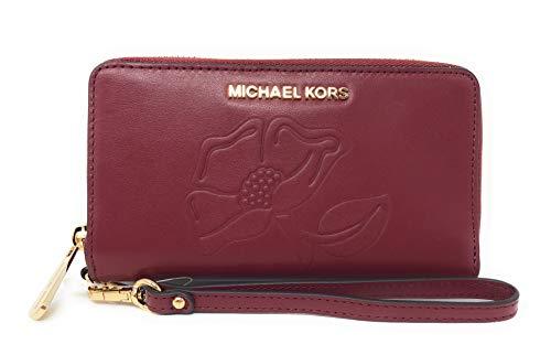 Floral Nouveau Windows - Michael Kors Nouveau Floral LG Flap Multi Function Leather Phone Case Wristlet Wallet in Mulberry