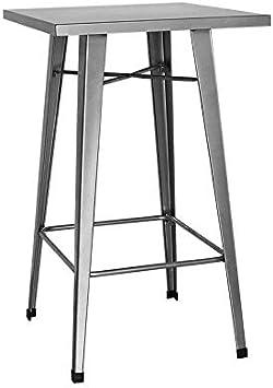 Regalos Miguel - Mesas Bar - Mesa Torix Alta Cuadrada 60 cm - Gris Metalizado - Envío Desde España: Amazon.es: Hogar