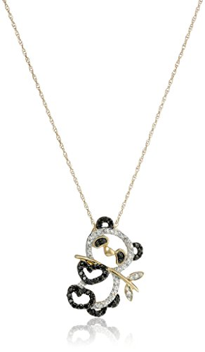 14k Yellow Gold Black and White Diamond Panda Bear Pendant (.17cttw, I3 Clarity) 18""