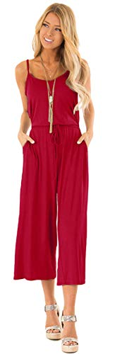 Longwu Women's Casual Loose Spaghetti Strap Jumpsuit Waist Tie Wide Leg Romper Overall Playsuit with Pockets Wine Red-S