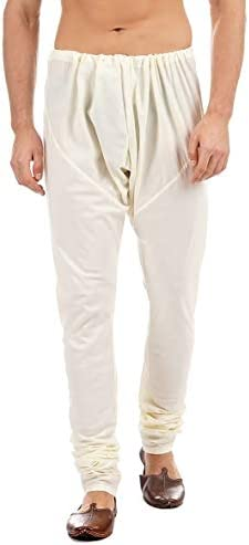 In Sattva Men's Traditional Indian Style Pure Cotton Solid Churidaar Pants White