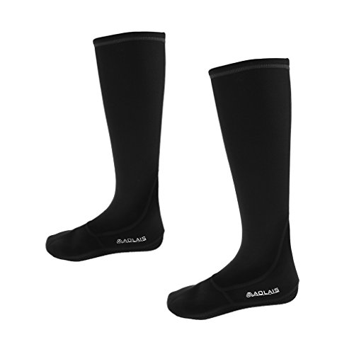 MagiDeal PREMIUM Water Fin Socks (Unisex) 3mm Neoprene Knee High Boots Shoes - for snorkeling, tide-pooling, and all water and sand activities - black XL