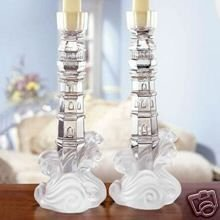 (Lenox China Crystal Lighthouse Candlesticks New in Box)