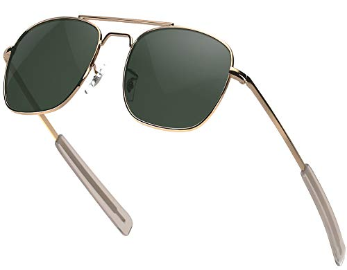 Mens Aviator Sunglasses 55mm Polarized Military Pilot Shades Square Metal Frame with Bayonet Temples for Women Gold Frame Green Lens (Military Aviator)