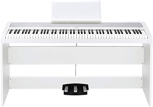 Portable Headphones White Wh (Korg B1SP 88 Keys Digital Piano with Stand and 3-Pedal Unit White)