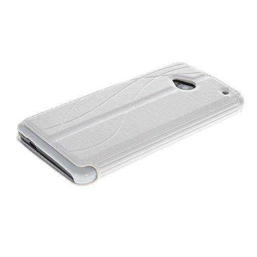 MOONCASE Premium PU Leather Slim Flip Bracket Window Case Cover for HTC One M7 White