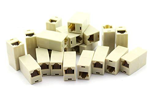 PZRT 20PCS RJ45 Coupler CAT5 CAT5E Extender Plug Ethernet Lan Cable Joiner Connector (Cable Coupler Joiner)