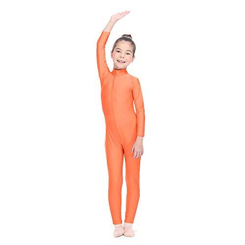 Dancewear Unitard (HDW DANCE Girls Unitard Gymnastics High Neck Ankle Length Dance Bodysuit (Medium, Orange))
