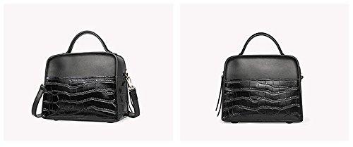 Mujer Xinmaoyuan bolsos verano bolso de moda femenina de cuero bolso de cuero color piedra Bump solo hombro bolsa transversal oblicua Bolsa de Dama, negro