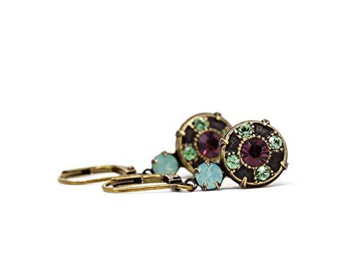Mint Green, Peridot & Amethyst Purple Swarovski Crystal Dangle Earrings in Antique ()
