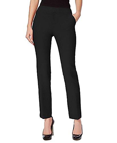 (INC Womens Petites Straight Leg Dress Pants Black 4P)