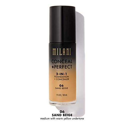 Milani Conceal + Perfect 2-in-1 Foundation + Concealer - Sand Beige (1 Fl. Oz.) Cruelty-Free Foundation that Covers Under-Eye Circles, Blemishes & Skin Discoloration for a Flawless Finish