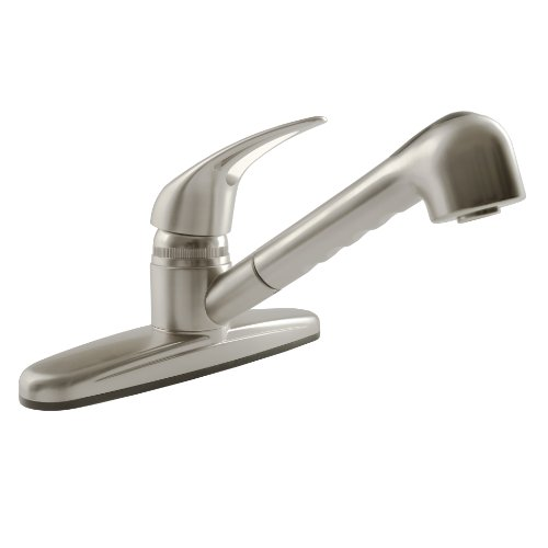 Dura Faucet (DF-PK100-SN) Non-Metallic Pull-Out RV Kitchen Faucet (Brushed Satin Nickel) (Porcelain Escutcheon)