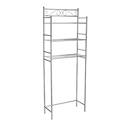 Adeco 10X25 inches 3-Tier Bathroom Shelf Space Saver Storage Unit Over Toilet, Chrome Metal, Heights 65.5Inches - This Space Saving Set Will add Decor and Class to Your Bathroom Three large wire Shelves Provide Space for Storage. Excellent Storage Unit for Towels, Toilet Paper, Candles, and Other Bathroom Essentials - shelves-cabinets, bathroom-fixtures-hardware, bathroom - 31mYc xOJ%2BL. SS400  -
