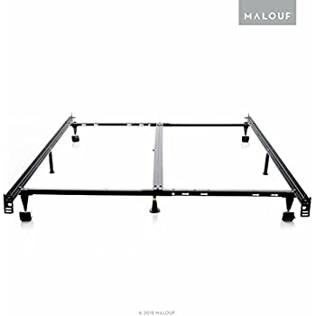 structures low profile 8leg heavy duty adjustable metal bed frame with rug rollers and