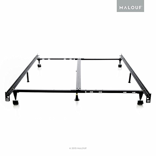 STRUCTURES Low Profile 8-Leg Heavy Duty Adjustable Metal Bed Frame with Rug Rollers and Locking Wheels - Universal Size (Cal King - King - Queen - Full XL - Full - Twin XL - Twin)