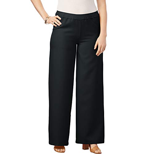 Roamans Women's Plus Size Bend Over Wide-Leg Pant - Black, 22 W ()