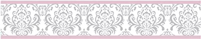 Sweet Jojo Designs Pink, Gray and White Elizabeth Kids and Baby Modern Wall Paper Border