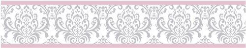 Bedding Baby Border (Sweet Jojo Designs Pink, Gray and White Elizabeth Kids and Baby Modern Wall Paper Border)