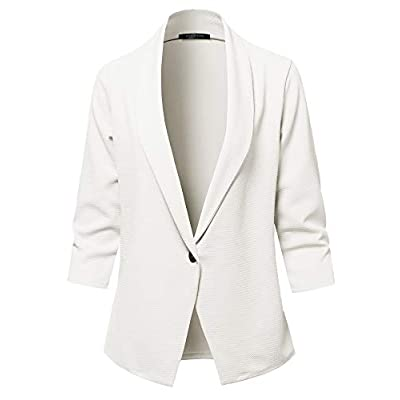 SSOULM Women's Loose Fit Open Front Work Office Blazer Jacket with One Button and Plus Size at Women's Clothing store