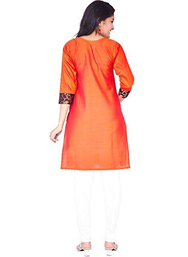 IndusDiva Women's Light Red Silk Cotton Straight Cut Kurti