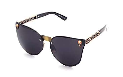Women's Metal Half Frame Semi-Rimless Cateye Skull Studded Sunglasses - UV400 by Pession (Image #3)'