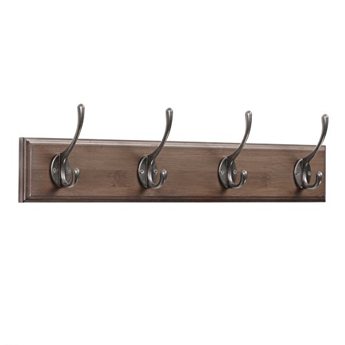Coat Hooks Rail/Coat Rack with 4 Dual Scroll Wall Hanger Hooks for Jackets, Coats, Hats, Scarves Retro color
