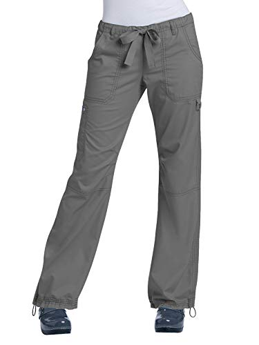 KOI Women's Lindsey Ultra Comfortable Cargo Style Scrub Pants (Petite Sizes), Steel, Small