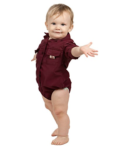 (Bull Red Baby Boys Maroon PFG Vented Fishing Shirt Button Up One Piece Snaps, 12m)