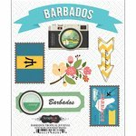 - Scrapbook Customs - Tropical Excursions Collection - Doo Dads - Self Adhesive Metal Badges - Barbados - Journal