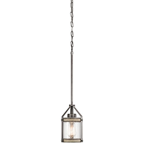 Kichler Barrington 5.5-in Anvil Iron and Driftwood Rustic Mini Seeded Glass Cylinder Pendant by KICHLER (Image #1)