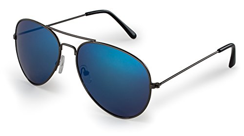 Stylle Aviator Sunglasses, Gunmetal Frame With Blue Lenses, 100% UV Protection (Kinder Aviator Sonnenbrille Billig)