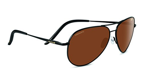 Serengeti Eyewear Panarea 24h Le Mans Sunglasses - Satin Black Frame - Polarized Drivers Gold Lens - 8487