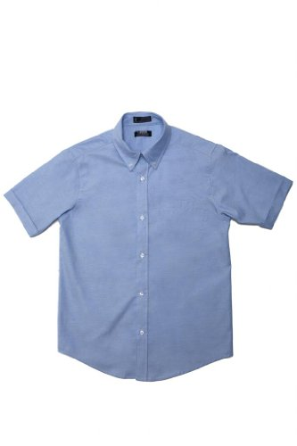 (French Toast Boys' Short Sleeve Button Down Oxford Shirt (14, Light Blue))