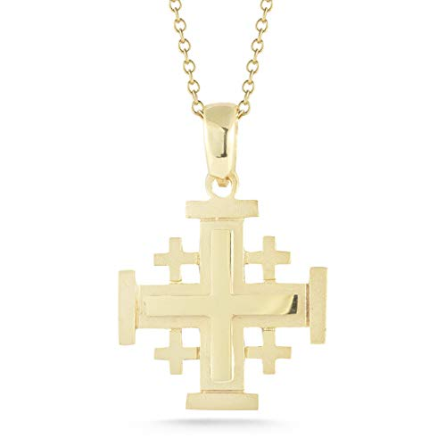 I REISS 14K Yellow Gold Jerusalem Cross Pendant Necklace ()
