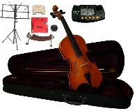 Merano 16.5'' Student Viola with Case and Bow+Extra Set of Strings, Extra Bridge, Shoulder Rest, Rosin, Metro Tuner, Black Music Stand, Mute by Merano
