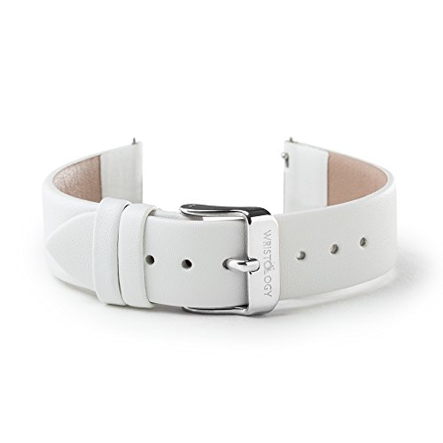 WRISTOLOGY 18mm Womens White Leather Easy Change Interchangeable Strap Band (Silver)