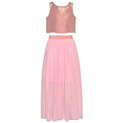 Capris Rare Pink Editions (Rare Editions Big Girls Blush Glitter Overlaid 2 Pc Skirt Outfit 16)